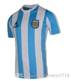 afe73f6d5 Retro 1986 World Cup Argentina national team home Soccer jerseys 10  Maradona AAA+ Real Madird 04