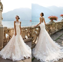 mermaid jewel dress sheer skirt 2019 - Sexy Plus Size Backless Wedding Dresses 2019 Sheer Neck Tulle Mermaid Court Train Bridal Gowns African Customized cheap