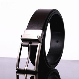 Double Sided Leather Belts NZ - High quality New Men Pin buckle Double Cowskin Available double-sided wear belt Men's brand Genuine Leather belt Rotating buckle belts