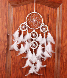$enCountryForm.capitalKeyWord Canada - Dream Catcher Pure White Dreamcatcher Five Circle Feather Wall Hanging Wind Chimes Bead Hanging Decoration Ornament Gift B950LR