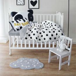 venta al por simple negro puntos blanco cuna set pcs algodn lino ropa de cama para bebs nios nios colchn coverlet almohadilla