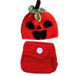 newborn pumpkin hat UK - Newborn Knit Jack-O-Lantern Costume,Handmade Crochet Baby Boy Girl Pumpkin Hat and Diaper Cover Set,Infant Halloween Costume Photo Props