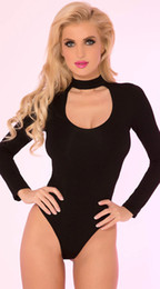 Atractiva Desgaste De La Etapa Baratos-Mujeres Stretch High Cut Leotard sexy manga larga Bodysuit ahuecar el cuello Jumpsuit Señoras Stage Dancing Wear