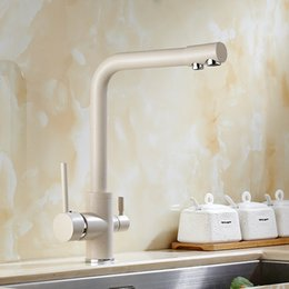 Wholesale  Solid Brass Beige White Kitchen Faucet Double Spout Drinking  Water Filter Kitchen Faucet Tri Flow Tap For Kitchen Sink Faucet