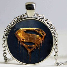 superhero necklaces NZ - Trend fashion superman necklace & pendant necklace for women Superhero diy jewelry