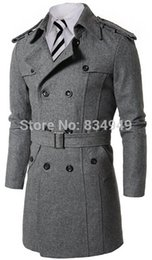 Trench-coat Personnalisé Pas Cher-Custom Made Gris Noir Double Breasted Trench Coat Hommes, Designer Winter Overcoat Hommes Long Coat, Cashmere Wool Coat Manteau d'hiver