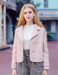$enCountryForm.capitalKeyWord Canada - New Autumn Winter Style Women Fashion Pink Woolen Jacket Coats Ladies's Elegant Polo Neck Short Overcoat Girls Sweet Single-Breasted Coat