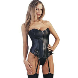Black Strapless Faux Leather Sexy Corset Front Zipper Women Bustier S-XL W1152 on Sale