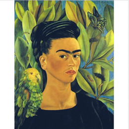 China Framed Self Portrait With Bonito by Kahlo Frida Handpainted Classic Portrait Art Oil Painting,on High Quality Canvas Wall Art Multi sizes suppliers