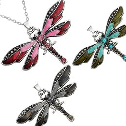 Wholesale New Crystal Rhinestone Butterfly Necklace Antique Silver Enamel Butterfly Pendant Chain Animal Model Fashion Jewelry for Women