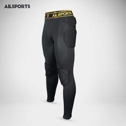 Atacado- 2017 Profissional de esqui Kits de Goleiro de Futebol Homens Esponja Magro Skinny Futebol Perna Longa Goalie Goleiro Calças De Treinamento Do Esporte
