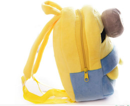wholesale baby book bags Canada - Despicable Me Children plush School Bag baby Backpack kids Plush Minions Toy packs Carton student School book Bags