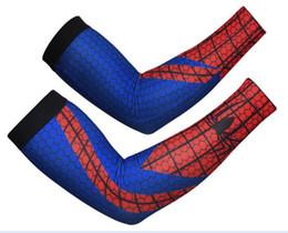 Venta al por mayor de Compresión Spider-man de Alta Calidad Correr Ciclismo Brazo Calentadores de Sol Protección UV Baloncesto Voleibol Deportes de Golf Mangas de Bicicletas Bicicleta
