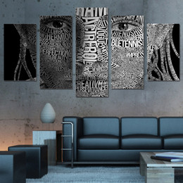 $enCountryForm.capitalKeyWord Australia - 5Pcs Set Framed HD Printed Words Face Typography Wall Art Canvas Print Poster Canvas Pictures Abstract Oil Painting Artworks