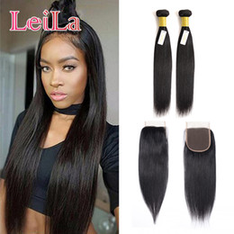Chinese  Cheap Malaysian Straight Hair 2 Bundles With 4 X 4 Lace Closure Virgin Hair 100% Unprocessed Human Hair Natural Color 3 Pieces lot manufacturers