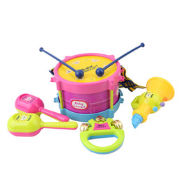 drumming toys Canada - 5pcs Educational Baby Kids Roll Drum Musical Instruments Band Kit Children Toy Baby Kids Gift Set
