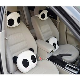 patterned car seat cushions Canada - 5 PCS Cute Lovely Panda Pattern Car Seat Neck   Head Pillow Soft Back Cushion Headrest CIA_607
