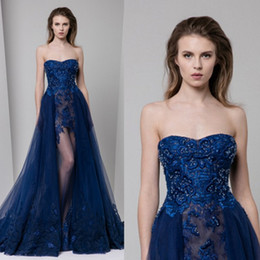 Robe Bleu Applique Bleu Pas Cher-Tony Ward 2017 Royal Blue Overskirts Robes de bal Dentelle Appliqued Beads Gaine Illusion Robes de soirée formelle Crystal Long Party Dress