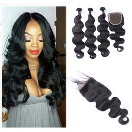 Pièces De Machines Peu Coûteuses Pas Cher-Cheap Human Hair Weaves Closure Free Part Natural Black Malais Body Wave Hair Hair Lace Fermeture 4pcs Lot G-EASY