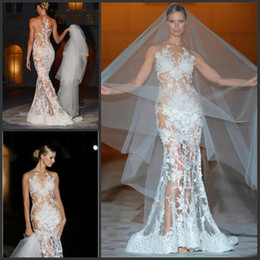 Barato Casamento Vestido Nua-New Sheer Illusion Top Vestidos de noiva Real Photo Lace Vestido de noiva com nu Back Sexy Beaded Andar de comprimento Mermaid Vintage Wedding Dresses