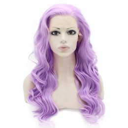 Long Wave Costumes Hair UK - Long Wavy Hand Tied Lace Front Synthetic Hair Purple Costume Party Wig