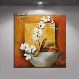 simple flower painting art Canada - Moth Orchid Flowers Painting Pure Hand Painted Oil Painting on Canvas Modern Simple Home Wall Art Decoration
