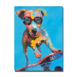 $enCountryForm.capitalKeyWord Canada - Fashion dog wear sunglasses picture without frame pop art dog oil painting pictures for living room