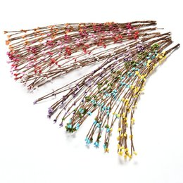 Wholesale Flowers For Wreaths Canada - 40cm Bud Artificial Branches Flower Iron Wire For Wedding Decoration DIY Scrapbooking Decorative Wreath Fake Flowers 10Pcs