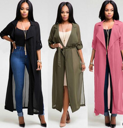 Barato Manga Comprida Chiffon Maxi-Venda por atacado-2017 Summer Women Bikini Blusa Beach Cover Up Moda manga comprida Cardigan Chiffon Shirt Dress 3 cores senhoras Loose Coat