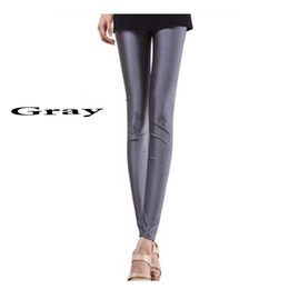 Leggings En Couleurs Brillantes Pas Cher-Vente en gros- Leggings Femmes 2016 Fahsion Sexy Women Slim Fit Glow Fluorescent Stretch Leggings Shiny Casual Candy Color Pants Plus Size
