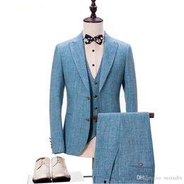 $enCountryForm.capitalKeyWord Canada - Light Blue Style Brand Fashion Men's Suits Jacket Pants Vest 3 Piece Male Groom Wedding Prom Tuxedo Business Formal Clothing Custom Made