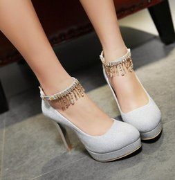 fine silver glitter Canada - HOT! Spring autumn New Women high heels shallow mouthWaterproof Platforms Hanging chain Fine with Sexy Round head One-word buckle Womenshoes