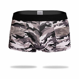 Barato Roupa Interior Floral Dos Homens-Print Camouflage Boxers 2017 Low Wawst Underwear Cheap Mens Boxer 3 Color Respirável Homewear Big Boxer U Pouch Men Flowers