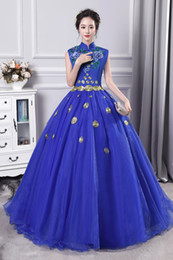 cosplay medieval Canada - 100%real royal blue flower stand collar embroidery carnival ball gown medieval dress Renaissance Gown queen cosplay Victorian Marie Belle
