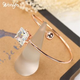 $enCountryForm.capitalKeyWord NZ - Wedding Jewelry Rosegold Plated Open Cuff Bracelets Simple Asymmetric Ball&big Cubic Zirconia Adjustable Bangles Women