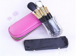 Wholesale Factory Direct DHL Hot New Makeup Tools Accessories Brushes Pieces Brush With Pink black Leather Pouch