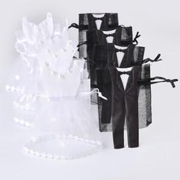 Organza cordon sac de bonbons 25 * smoking 25 * robe mariée marié faveurs de mariage partie cadeau sac WB06