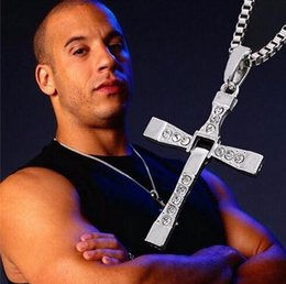 $enCountryForm.capitalKeyWord NZ - THE FAST and The FURIOUS 7 Fashion Mens Necklace Dominic Toretto's Rhinestone Cross Pendant Necklace Gold Silver Chain Unisex Movie Jewelry