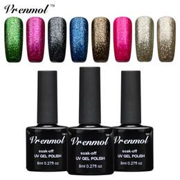 Glitter red Gel polishes online shopping - Vrenmol Shining Platinum Gel Nail Polish Soak Off UV Platinum Nail Gel Manicure For Colorful Shining Glitter