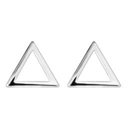 Vente en gros 5 paires / lot Vintage 925 Sterling Silver Boucles D'oreilles Femmes Bijoux Simple Conception Brève Évider Triangle Piercing Oreille Boucle D'oreille