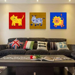 Lion Pictures Print Canada - Lion Zebra Leopard Triptych Hand-painted Wall Pictures Home Decor Poster Cartoon Animal Printed on Canvas Painting for Kids Room Bedroom