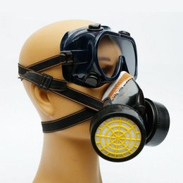 Masque Antivirus Pas Cher-Double anti-poussière Spray Paint Industrial Chemical Gas Filtre Respirator Mask Lunettes Goggles Set Black Equipment Safeguard ZA2560