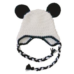 $enCountryForm.capitalKeyWord NZ - Lovely White Black Panda Hat,Handmade Knit Crochet Baby Boy Girl Animal Earflap Hat,Children Winter Cap,Toddler Photo Prop