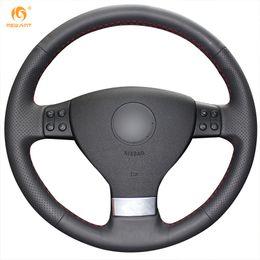 $enCountryForm.capitalKeyWord Canada - Mewant Black Genuine Leather Car Steering Wheel Cover for Volkswagen Golf 5 Mk5 VW Passat B6 Jetta 5 Mk5 Tiguan 2007-2011