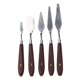 Knife Painting Artists UK - New Arrive 5pcs set Stainless Steel Palette Knife set Mixed Scraper Set Spatula Knives for Artist Oil Painting