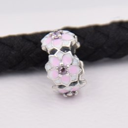 $enCountryForm.capitalKeyWord Australia - 2017 New Arrive 925 Sterling Silver Spacer Beads Magnolia Bloom Pale Cerise Enamel & Pink CZ Fit Original Pandora Bracelet DIY Jewelry