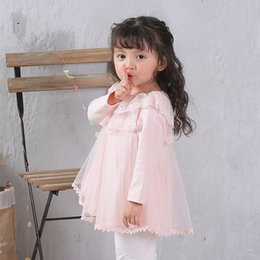 Barato Rendas Vestidos De Tule Toddler-Toddler Tulle Lace vestidos Infant Kids Girls princesa vestido de festa Girls Autumn Ruffles Dress 2017 Kids Clothing