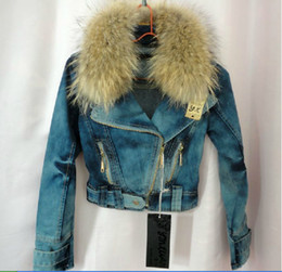 exclusive jackets 2020 - Wholesale- Exclusive special geniune raccoon fur coat women denim jacket with fur winter Locomotive women coat free ship