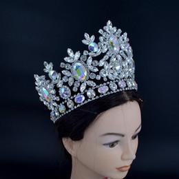 Vente en gros Couronnes Pageant Nouveau Strass Cristal AB Argent Miss Beauté Reine De Mariée De Mariage Diadèmes Princesse Coiffe De Mode Bijoux De Cheveux Couronne Mo225