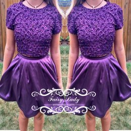 Barato Vestidos De Cetim Roxo De Manga Curta-Gorgeous Major Beading Short Purple Dois Vestidos Homecoming Com Mangas Strech Satin A Line 2017 Junior Girls Dress Party Prom Gown